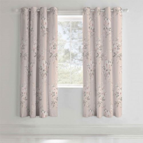 Catherine Lansfield Canterbury Blush Eyelet Curtains